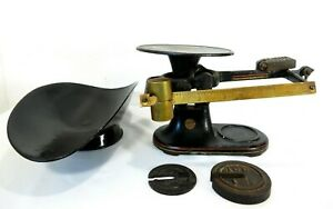 Antique Fairbanks Cast Iron Industrial Scale Scoop Weights Kitchen Counter