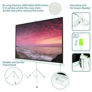 100 Inch Tripod Stand 4 3 Portable Projector Screen Matte Pull Up Foldable
