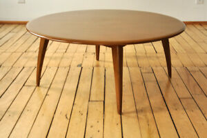 Heywood Wakefield Round Coffee Table Honey Wheat Finish Mid Century