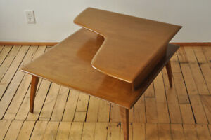 Heywood Wakefield Corner Table 2 Tiered Honey Wheat Mid Century