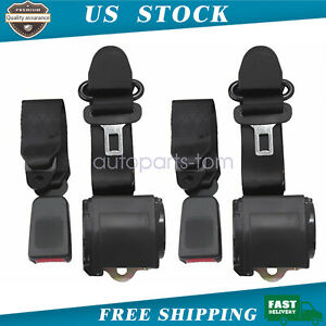2x Universal 3 Point Retractable Seat Belts For Jeep Cj Yj Wrangler 1982 1995