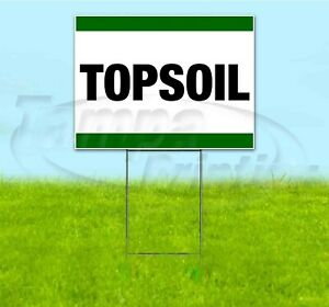 Topsoil 18x24 Yard Sign With Stake Corrugated Bandit Business Sale Landscaping
