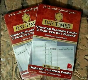 Lot Of 2 Day Timer Undated Daily Planner Pages 2 Per Day Format New Nip 4 Months