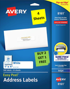 4 Sheets Avery 8161 8461 White 1 X 4 Address Labels Inkjet B2g1