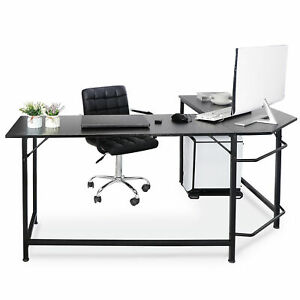 51 Modern L shaped Computer Desk Large Workstation With Round Corner Pc Stand