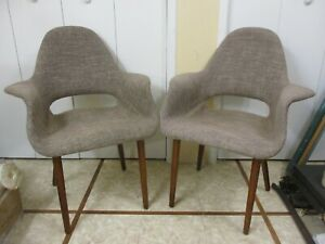 Vintage Mid Century Eames Era Lounge Chairs Arm Rests Danish Modern Wood Legs