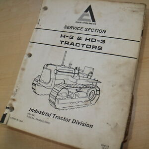 Allis Chalmers H3 Hd3 Tractor Dozer Crawler Service Repair Shop Manual Book