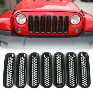 7x Black Front Grill Mesh Grille Insert Cover Kit For Jeep Wrangler Jk Unlimited