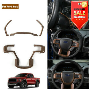 Wood Grain Interior Dashboard Steering Wheel Cover Trim For Ford F150 2015