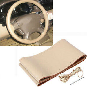 Diy Beige Car Truck Genuine Leather Steering Wheel Cover With Needles And Thread