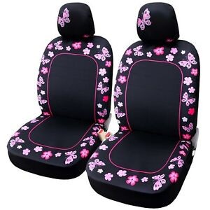 Front Car Seat Covers Butterfly Flower Protector Cushion Universal Fit Most Cars