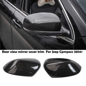 2 Carbon Fiber Rear View Reversing Mirror Cover Trim For Jeep Cherokee 2014 2019