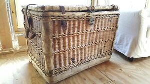 Antique French European Wicker Trunk Chest Rare Piece Stack Table Storage
