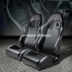 Full Reclinable Pvc Carbon Style Leather Racing Seats Adjustable Sliders Rails