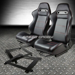 Type R Pvc Leather Stitch Racing Seat Low Mount Bracket For 93 02 Chevy Camaro