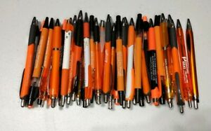 30 Piece Bulk Lot Of Misprint Orange Retractable Click clicky Pens Free Ship