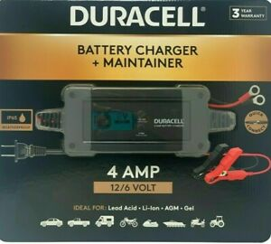 Duracell Battery Charger And Maintainer 4 Amp 12 6 Volt Ip65 Weatherproof