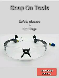 Snap On Tools Safety Glasses W ear Pods Clear Lens Black Arms Rugged Design New