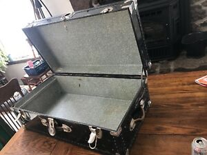 Vintage Metal Black Steamer Trunk Very Large With Key 32x17x12