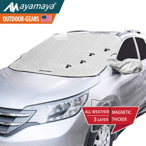 Car Windshield Snow Cover Magnetic Ice Frost Shade Mirror Protector Winter Cute