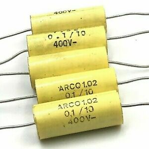 0 1uf 100nf 400v Axial Polypropylene Capacitor Arcotronics Qty 5