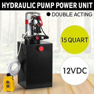 Hydraulic Power Unit 15quart Pump Double Acting 12v Dc For Dump Trailer Car Lift