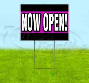 Now Open 18x24 Yard Sign With Stake Corrugated Bandit Usa Business