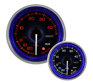 52mm Crystal Series Amber white Electric Boost Gauge With Blue Halo Ring