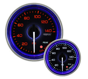 52mm Crystal Series Amber white Oil Pressure Gauge With Blue Halo Ring