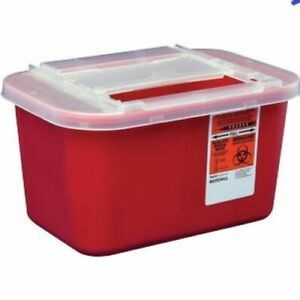 Kendall Devon Sharps Container W slide Lid 1 Gallon Red 3 Pack Free Ship