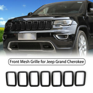 7pc For Jeep Grand Cherokee 2017 Front Mesh Grille Grill Trim Ring Insert Black