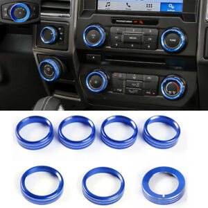 Blue Center Console Air Condition Switch Knob Trim Ring For Ford F150 Xlt 2016