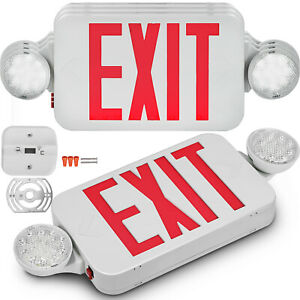 4 Pack Emergency Lights Red Exit Sign W dual Led Lamp Abs Fire Resistance Hotels