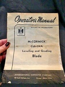 Ih Operator s Manual Mccormick Cub 54a Leveling And Grading Blade