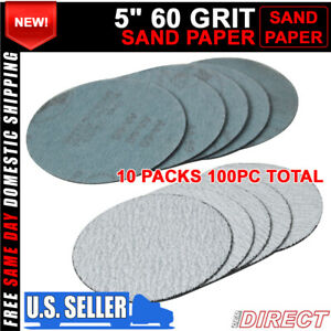 100pc 5inch 127mm 60 Grit Auto Sanding Disc Body Collision Repair Sand Paper