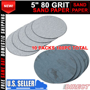 100pc 5inch 127mm 80 Grit Auto Sanding Disc Body Collision Repair Sand Paper