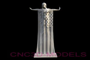 3d Stl Model For Cnc Router Carving Artcam Aspire American Usa Women Flag D610