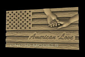 3d Stl Model For Cnc Router Artcam Aspire American Usa Love Hand Flag D622