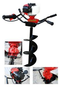 2hp Two Man Post Hole Digger Earth Planting 52cc Gas With 6 12 Auger Bits