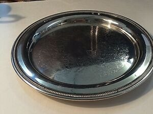 Silver Plated Round Serving Tray 12 1 2 Inch
