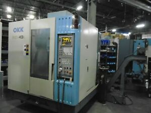 Okk Pcv 40 Vertical Cnc Mill 1997 Mitsubishi 500m Control With Indexer Video