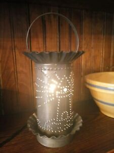 Primitive Style Early Lighting Punched Tin Lighthouse Electric Tart Warmer
