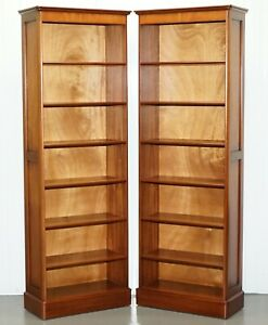 Pair Of Panelled Cherry Wood Library Office Bookcases Part Of A Large Suite