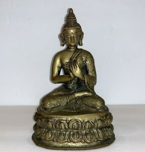 Vintage Buddhism Thai Metal Buddha Sculpture Statue