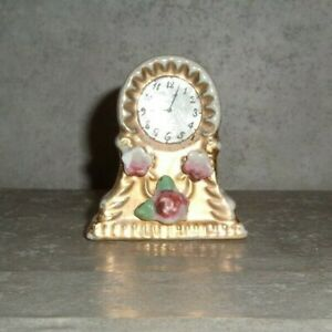 Antique 2 Inch Tall Porcelain Gold Painted Clock Figurine Japan
