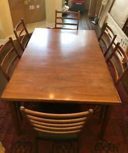 Extendable Mid Century Modern Dining Table Set With 6 Chairs