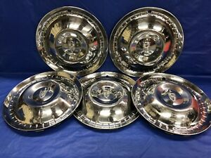 Vintage Set Of 5 1952 53 Lincoln 15 Hubcaps Good Condition