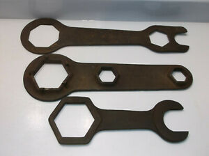 3pc Vintage Antique Hub Wrench Ford Model A 15086 A Tool Kit Fairmont Cleveland
