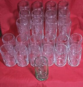 Coca Cola 26 Can Shaped Collectible Glasses Coke 12 oz Vintage 25 Clear 1 Green