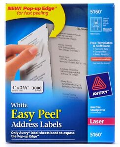 Avery 5160 White Easy Peel Laser Address Shipping Labels 65 Sheets 2 000